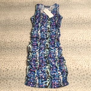 Abi Ferrin Midi Dress Printed Ruched Sleeveless